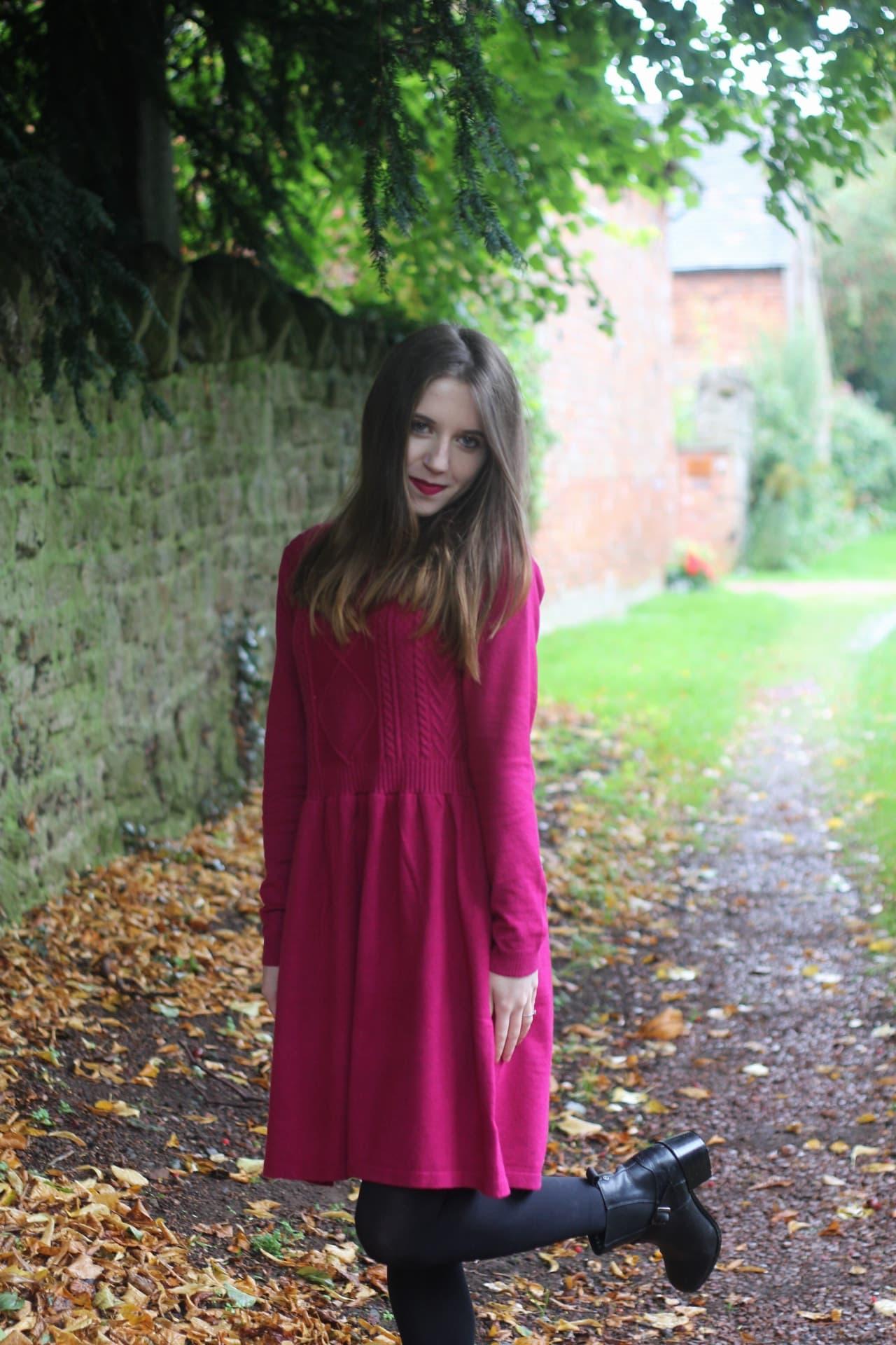 pink knit dress